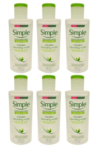 Simple - Cleansing Water Micellar Makeup Remover 200ml Pack of 6 (1200ml)